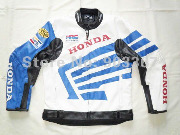Free shipping honda pu leather motorcycle jacket racing jacket Blue and white color and SIZE M,L,XL,XXL(China (Mainland))