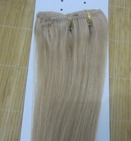 "20"" - 24"" 8pcs clip in hair extensions remy human hair clip on extensions # 22 medium blonde 85g/set 5sets/color/lot"