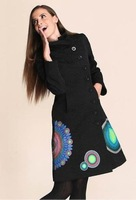 2012 Beautiful Desigual Women Lady Black embroidery printing  Jacket Coat Wool & Blends Size 36,38,40,42,44,46