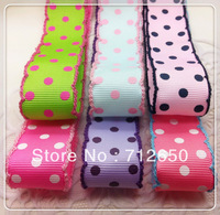 free shipping 22mm 7/8''12 yards mixed 6 colors dots printed ribbon with crochet edges, garment accessories hairbow gift package