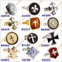 Faith Christ Cufflink Man Fashion Jewelry Metal Brass Cross Cufflinks For Men Design French Cuff links Mens Accessories