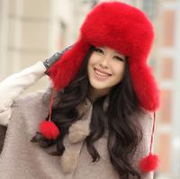 Hot Sale high quality winter women's mink fur hat  fox fur ear cap R96 A 110