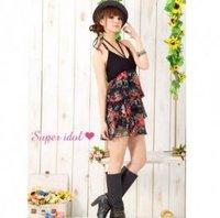 Free Shipping  New Arrival Korea Flower V Neck Gallus Dress Black