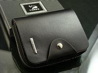 short design zipper genuine leather wallet