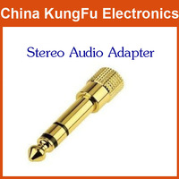 "2014 new Free Shipping 100pcs 6.5mm 1/4"" Male to 3.5mm Female Stereo Audio Adapter AV"