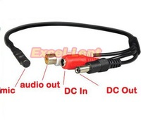 1pcs CCTV Wide Range Microphone Cable for Security Camera Audio Surveillance DVR