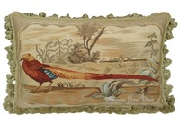 """Hand Woven Wool Aubusson Tapestry Pillow Cover - VINTAGE STYLE  PHEASANT 24""""x16"""" Houseware"""