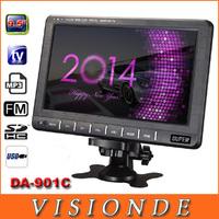 "SUPER DA-901C Televisions Multifunction 9.5"" inch 720*480 pixels TFT LCD Portable Color TV Monitor With USB/FM/AV/SD Black"