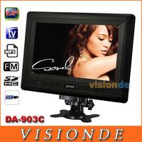 Free Shipping SUPER DA-903C 9.5 inch TFT LCD Portable Color TV Monitor with USB/FM/AV/SD Black Dropshipping+Wholesale