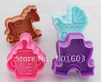 Wholesale free shipping 4pcs/set 3D Trojan Milk Bottle Stroller Romper Mould Cake Chocolate Cookie Plunger DIY Tool Baby Set