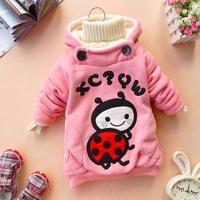 Free shipping! 1PC spring autumn baby kids girls applique embroidery ladybug cartoon pullover sweatshirt