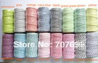 free shipping Double color 100% Cotton Bakers twine wholesale  200pcs/lot 21 colors mix