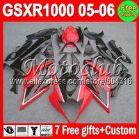 On sale+7gifts Factory red black For SUZUKI GSXR1000 K5 05-06 GSX R1000 GSXR 1000 GSX-R1000 05 06 2005 2006 Gloss red Fairing
