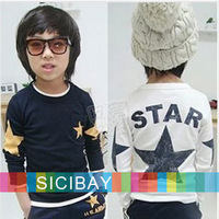 Boys Long Sleeve Tshirts Kids Five-star Printed Cool Tops,O-neck,Children Bottoming Shirts,Free Shipping  K0742