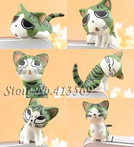 New lovely chi's cat kitty minipol ear cap , Ear Hole Cap ,Dustproof plug 3.5mm,dust cover,9pcs/lot Free shipping(China (Mainland))