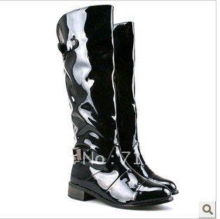 cool shiny black fashion flat heel knee high boots