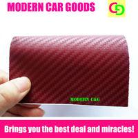 wholesale 127cm x 30m wine red 3d carbon fiber vinyl film car vinyl car wrap with air free bubbles practicable car stickers
