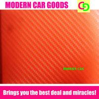 Wholesale 127cm x 30m orange 3d carbon fiber vinyl film car vinyl car wrap practicable car stickers