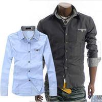 Korea classic men's shirt Fashion male slim fit long sleeve shirt for men, ribstop fabric,Size: M-XXL