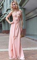 Free Shipping Latest 2012 Chiffon Appliques One Shoulder Pink Sexy Luxury Lady Evening Dress Fashion 30598