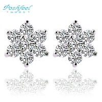 PF brand ladies`engagement 925 sterling silver +AAA crystal + 3 layers of platinum plated stud earrings snow flower earrings