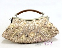 wholesale classic embroidery flower evening bag wooden handle clutch bag purse