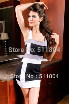 Lady Fashion Evening Dress Women Sexy Spaghetti Strap Stretchy One-piece Dress, 2014 Summer Stripe Short Dress NA2396