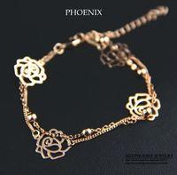 HEB014 Wholesale 2014 New 14K Rose Gold Plated Flower multiLayer Bracelets Fashion Jewelry Women Pulseras Women Mujer bijoux