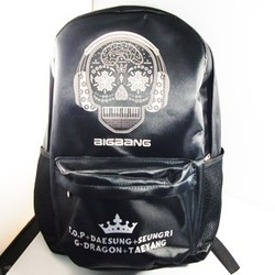 Black & Silver BigBang Punk Flora Skull Skeleton Backpack Shoulders College School Cool Rock Bag for kids women men girls boys(China (Mainland))