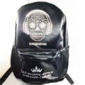 Black & Silver BigBang Punk Flora Skull Skeleton Backpack Shoulders College School Cool Rock Bag for kids women men girls boys