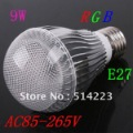 AC85~265V 9W E27 350LM RGB led lighting Colorful  LED Bulb Lamp with Remote Control Free shipping
