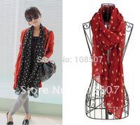 hot sale lady's fashion chiffon polka dots scarf  shawls warp 10pcs/lot with mix colours wholesale Designer