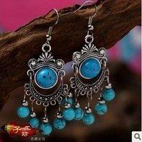 Min Order $15 Vintage Handmade Tibetan Silver turquoise simulated Gemstone beads tassel Pendant Earring Stylish Women 1pair