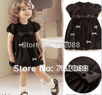 Retail new 2014 baby girl dress summer baby clothing Black
