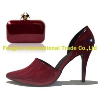 Stock women shoes and matching bag wine red
