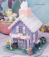 3d cross stitch handmade DIY Crafts needlework embroidery kits for home decoration Christmas decor Purple house tissue box C32