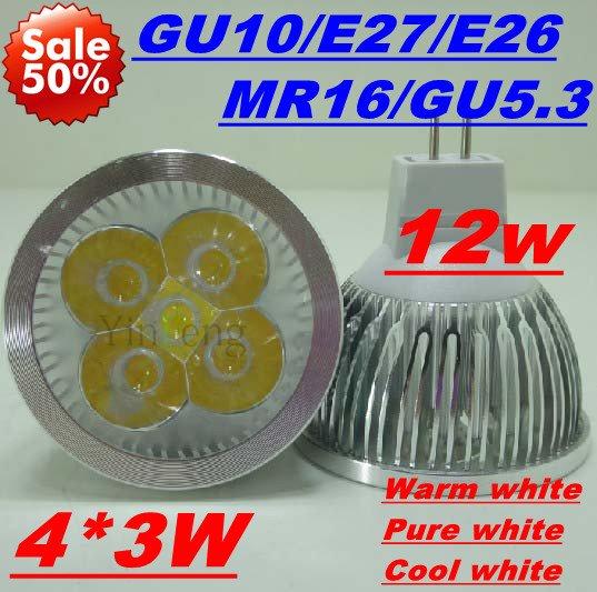 1PCS/LOT ON SALES DHL FREE 12W GU10 4X3W CREE LED DOWNLIGHT ENERGY SAVING LIGHT BULB LAMP Spotlight low price(China (Mainland))