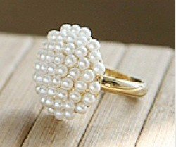 Mixed order $15 At least New Arrival Hot Sale Fashion Elegant Mushroom Head white Pearl Ring R20(China (Mainland))