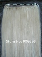 Bleach Blonde One Piece Clip In/On Human Hair Extensions 613# 16/20/24inch 5 clips 80g/piece Accept Custom Order Free Shipping