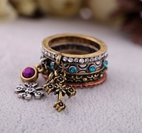 2014 New Arrival Set Of 4 Pcs Antique Gold Retro Vintage Cross Metal Stack Rings Set For Women Jewelry