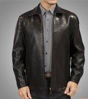 Free shipping 2014 Selling brand of men's genuine leather jacket single leather lapel short coat