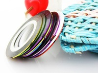 Wholesale 19 Color Available,100pcs Nail Art Tips Striping Tape Decoration + Free Shipping
