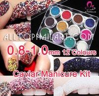 Free Shipping- Caviar Nail Art 3D Nail Art Mini Beads Set 12 Color Tiny Circle Bead Decoration