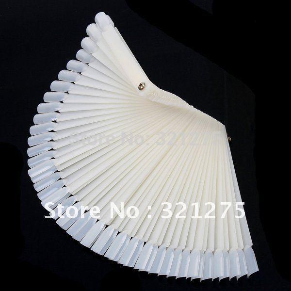 Free Shipping 50PCS Ivory White Plastic Flase Nail Art Tips Stick Display Practice Fan Board&Nail Art Display natural color(China (Mainland))