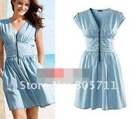 Light Blue V-neck High Waist Peplum Sleeveless Vintage Dress Summer 2014 Women Clothing Knee-Length  Zipper Epaulet