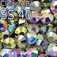 SS40 8.4-8.7mm,AAA Quality 144pcs/Bag AB Clear Crystal DMC HotFix FlatBack Rhinestone strass,DIY garment heat Hot Fix crystals