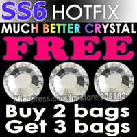 Promotion! SS6 1440pcs/Bag Clear Crystal DMC HotFix FlatBack Rhinestones strass,DIY iron hot fix glass crystals stones glitters