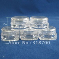 Free shipping- 3g  square  cream jar, cosmetic container, plastic bottle,sample jar,dispaly container