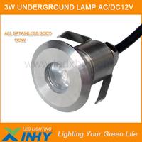 12 Volt 1W Stainless Steel Housing Waterproof Led Outdoor Lamp Mini 42mm Underground Paving Light