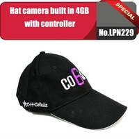 No.LPN229 4GB Built in memory Hat/ Cap Mini Hidden Camera DVR with remote control 720*480/30FPS+Free shipping
